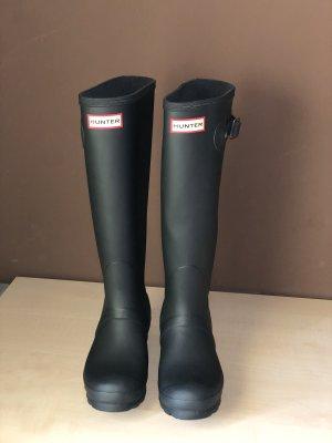 Hunter Wellington laarzen zwart-donkergrijs