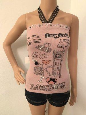 NEU italienisches Sommer Ribbed Bandeau Tank Top Shirt Strasssteine Perlen Bustier Bluse Corsage S M