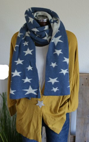 Cashmere Scarf steel blue-natural white cashmere