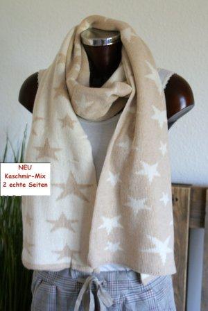 Écharpe en cachemire blanc cassé-brun sable cachemire