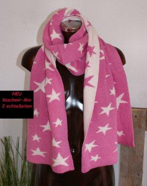 Italy Sjaal van kasjmier roze-wolwit Kasjmier