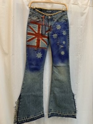 NEU: Jeans Freesoul, Gr 26, Vintage, stars+stripes, Schlag, NP 149€
