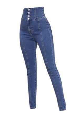 Sheinside Jeans taille haute bleu acier
