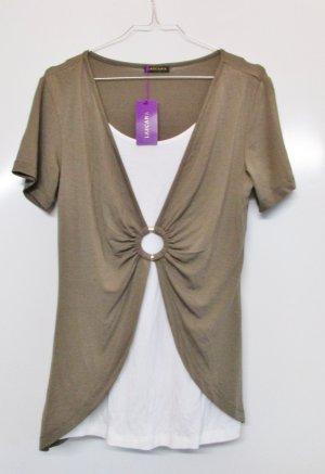 Neu Jersey Doppel Shirt Lascana Größe S M 36 38 Beige Weiß Khaki Zweilagig Lagenlook Longshirt Tunika Viskose Knoten Ring T-Shirt Top Wickel Optik Wickelshirt