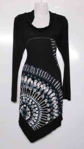 Neu Jersey Kleid Schalkragen Liberty Größe M 38 Zipfel Mandala Druck Schwarz Stretchkleid Shirtkleid Viskose