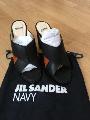 NEU Jil Sander Navy Pantolette schwarz braun 37 Blockabsatz