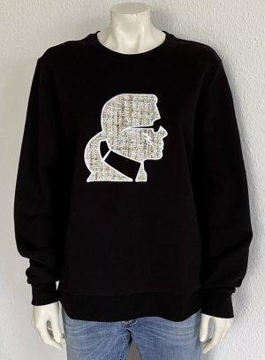Neu Karl Lagerfeld Kameo Boucle Sweatshirt Gr. XL schwarz Logo