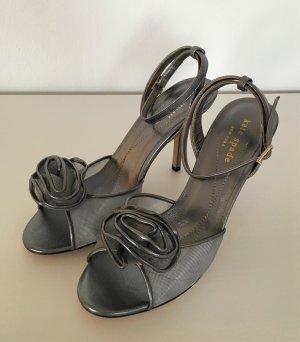 NEU Kate Spade Sandalen Sandaletten 37 Silber Grau High Heels Pumps Abendschuh Hochzeit