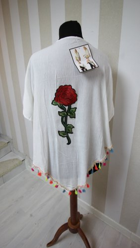 NEU Kimono Jacke Fransen Rose Blume chic Sommer