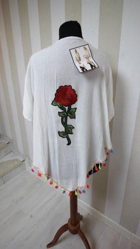NEU Kimono Jacke Weste Fransen Blume Rose