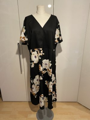 NEU Kleid Gr.50 Gr.3XL schwarz Blumenkleid Midikleid