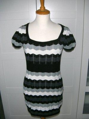 neu, Kleid, Longshirt, schwarz, weiß, grau, Streifen, H&M, Gr. 34/36