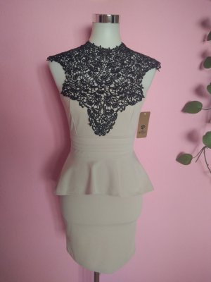Peplum Dress sand brown-black polyester