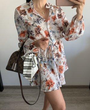 Neu Kleid tailliert mit Print Muster Blumen weiß bunt
