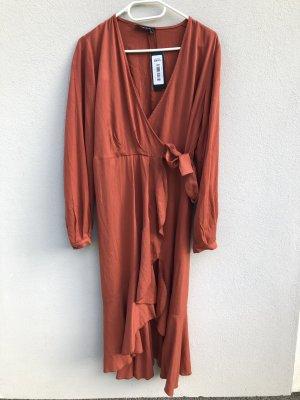 NEU Kleid Wickelkleid S rotbraun Volants