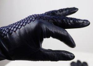 Net Gloves dark blue-blue leather