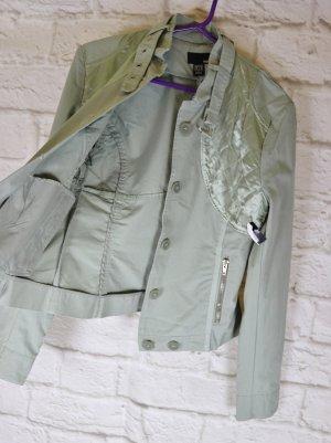Neu Kurzjacke Biker Jacke H&M Größe 36 Pastell Grau Grün Aqua Satin Stehkragen