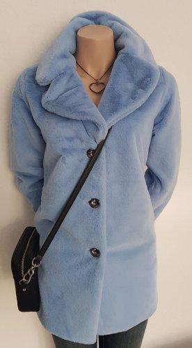 Shelalove Manteau en fausse fourrure bleu azur
