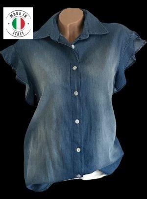 NEU - L 40 - ITALY SCHÖNSTE JEANSBLUSE LÄSSIG BLAU VOLANT Bluse Tunika Jeans ♥ ☆ DIE BESTEN SCHNÄPPCHEN - JETZT MEGA REDUZIERT ☆ ☆