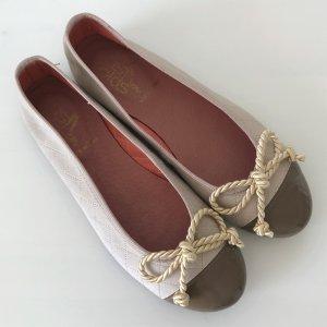 NEU Las Lolas Ballerina 38 Nude Quilted Loafer Halbschuhe Flats Schleife Leder