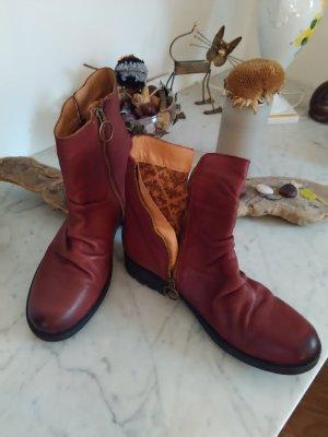 Apple of eden Booties brown red-russet leather