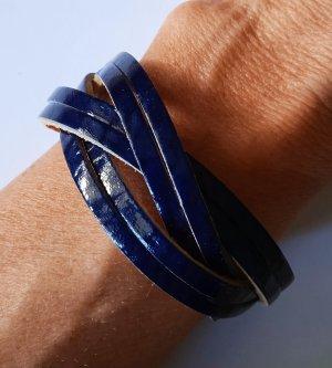Bracelet en cuir bleu foncé-marron clair cuir