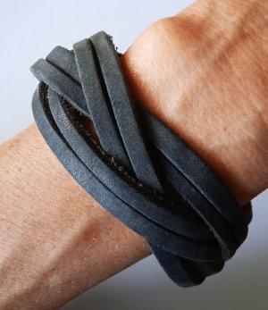 Bracelet en cuir gris anthracite cuir