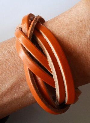 Bracelet en cuir orange foncé-orange cuir
