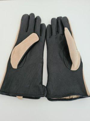 Leren handschoenen zwart-licht beige