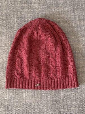 Bonnet rouge foncé laine angora