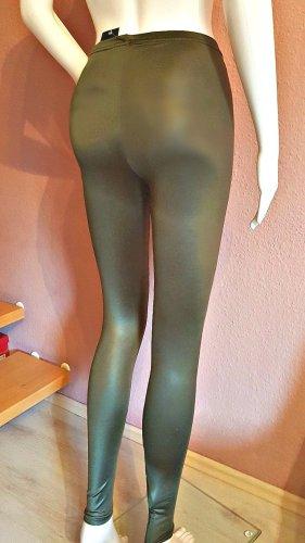 NEU leichter glänzend Hose Jeggings LEGGINGS in OLIVEN GRÜN Militär Army Grün vielseitig kombinierbar