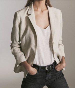 Massimo Dutti Blazer tejido beige claro-crema Lino