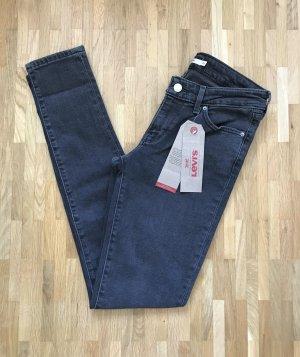 NEU Levi's 711 Skinny Jeans W26 L32 Mid Rise Hose Grau Leggings XS Röhrenjeans