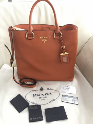 Prada Shopper gold-colored-dark orange leather