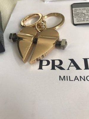 NEU Luxus Prada Milano Designer Trick Heart Metall Schlüssel Schlüsselanhänger Key Ring Tasche Charm
