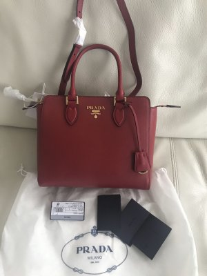 Prada Carry Bag gold-colored-dark red leather