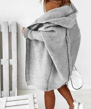 ⋙•-•-•-•➤Neu m. Etikett - Oversize Damen Strickmantel Strickjacke Cardigan Poncho Cape Überwurf XL Kapuze ( One Size , S M L )