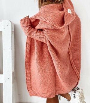 ⋙•-•-•-•➤Neu m. Etikett - Oversize Damen Strickmantel Strickjacke Cardigan Poncho Cape Überwurf XL Kapuze in Koralle ( One Size , S M L )