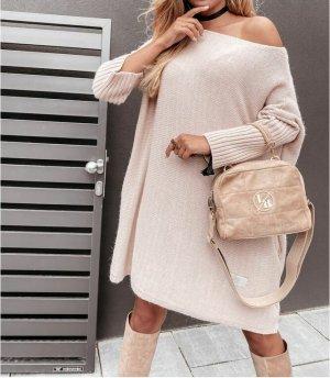 ⋙•-•-•-•➤Neu m. Etikett - Oversize Strickkleid Stiefelkleid Long Pullover Strickpullover Blogger Pulli Jumper Einteiler Off Shoulder NEU S M L XL