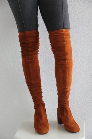 Maje Overknees cognac-coloured leather