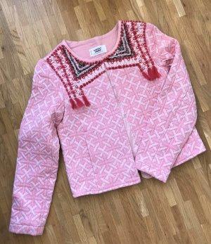 NEU Mango Blazer XS 34 Damen Jacke Rosa Festival Cardigan Fransen Stickerei