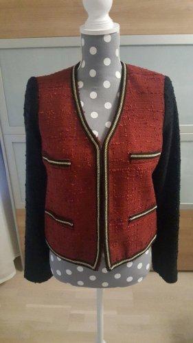 Neu Mango Bouclé Tweed Jacke Blazer Rot Gold Schwarz