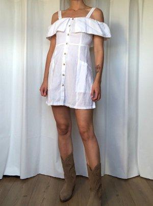 Neu! Mango Leinen Kleid Off Shoulder Clean Chic Cosy A-linie