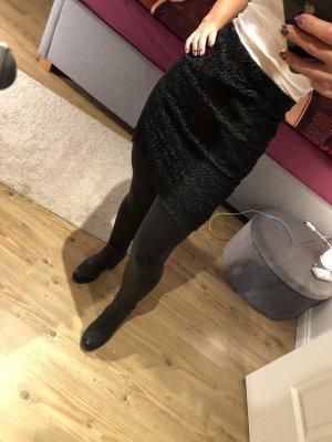 Mango Falda de encaje negro