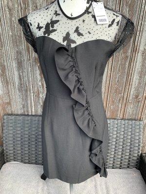 Mango Vestido de manga corta negro