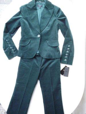 Mango Trouser Suit dark green cotton