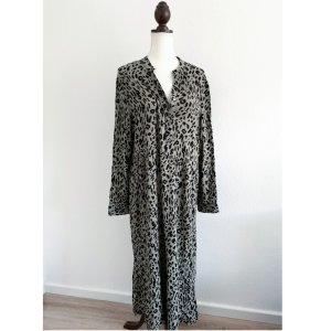 NEU Manguun Kleid Hängerchen Maxikleid Leo Print langarm Leoparden Muster grau Khaki schwarz Größe L