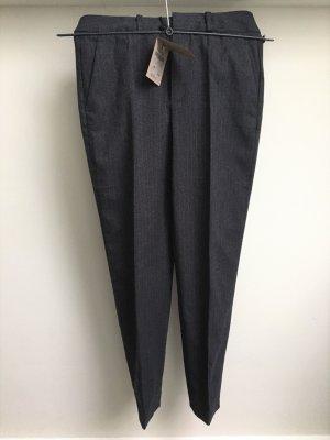 Massimo Dutti Pantalón de pinza gris antracita Lana