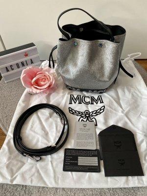 MCM Sac seau argenté-noir
