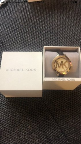 Michael Kors Reloj con pulsera de cuero negro-color oro